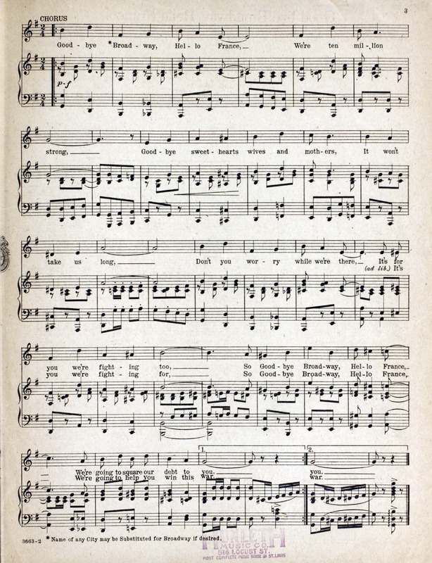Piano hello piano sheet music : Good-bye Broadway, hello France / words by C. Francis Reisner and ...