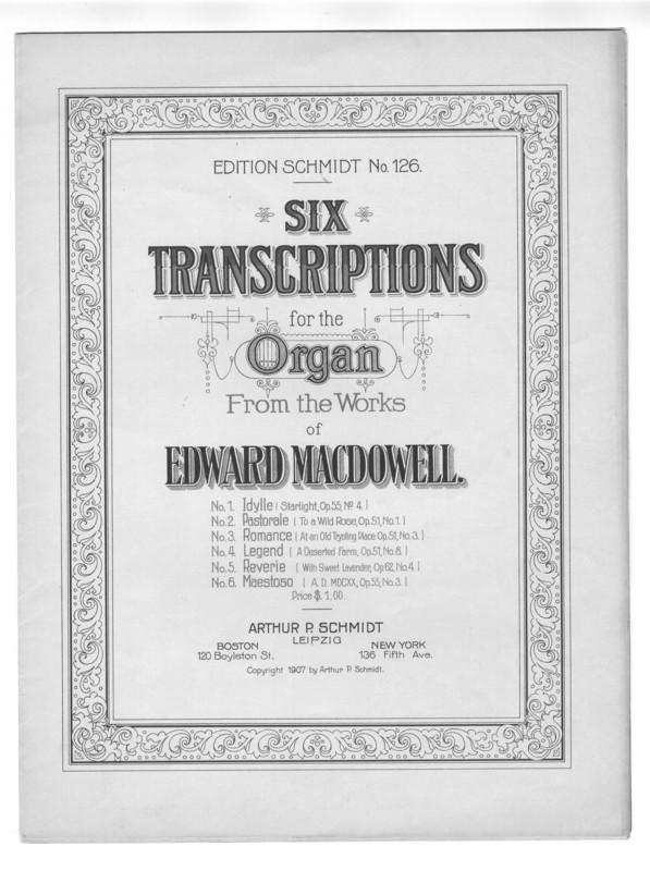 Six transcriptions for the organ