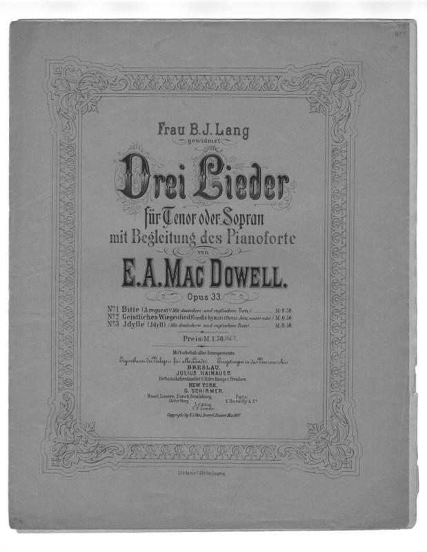Drei Lieder für Tenor oder Sopran mit Begleitung des Pianoforte, op. 33