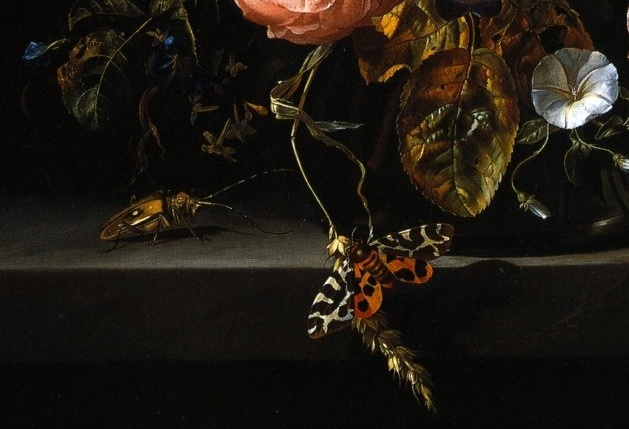 Detail 2 of Ruysch's Flowers in a Glass Vase