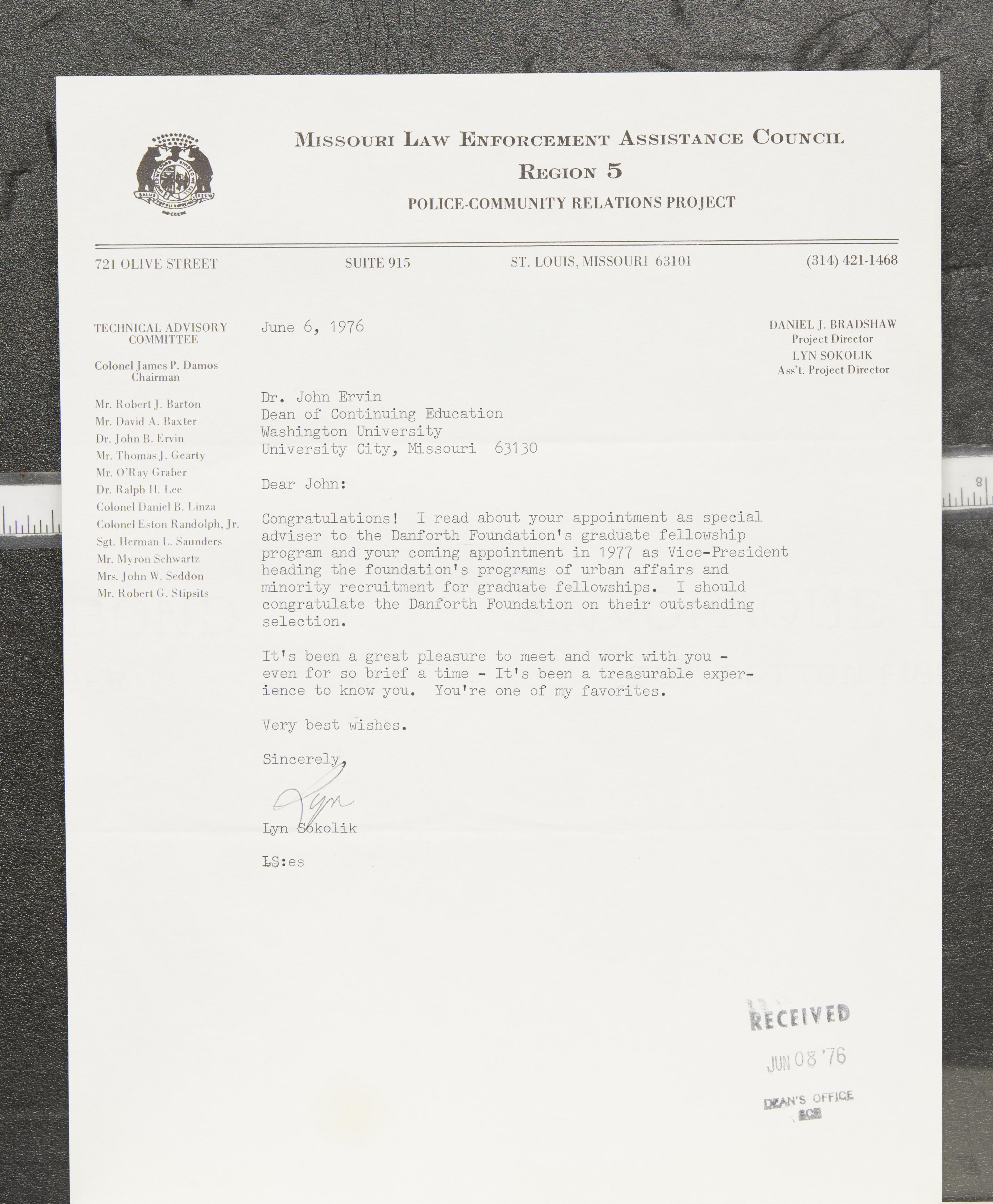 Letter from Lyn Sokolik to Dr  John Ervin · WUSTL Digital Gateway