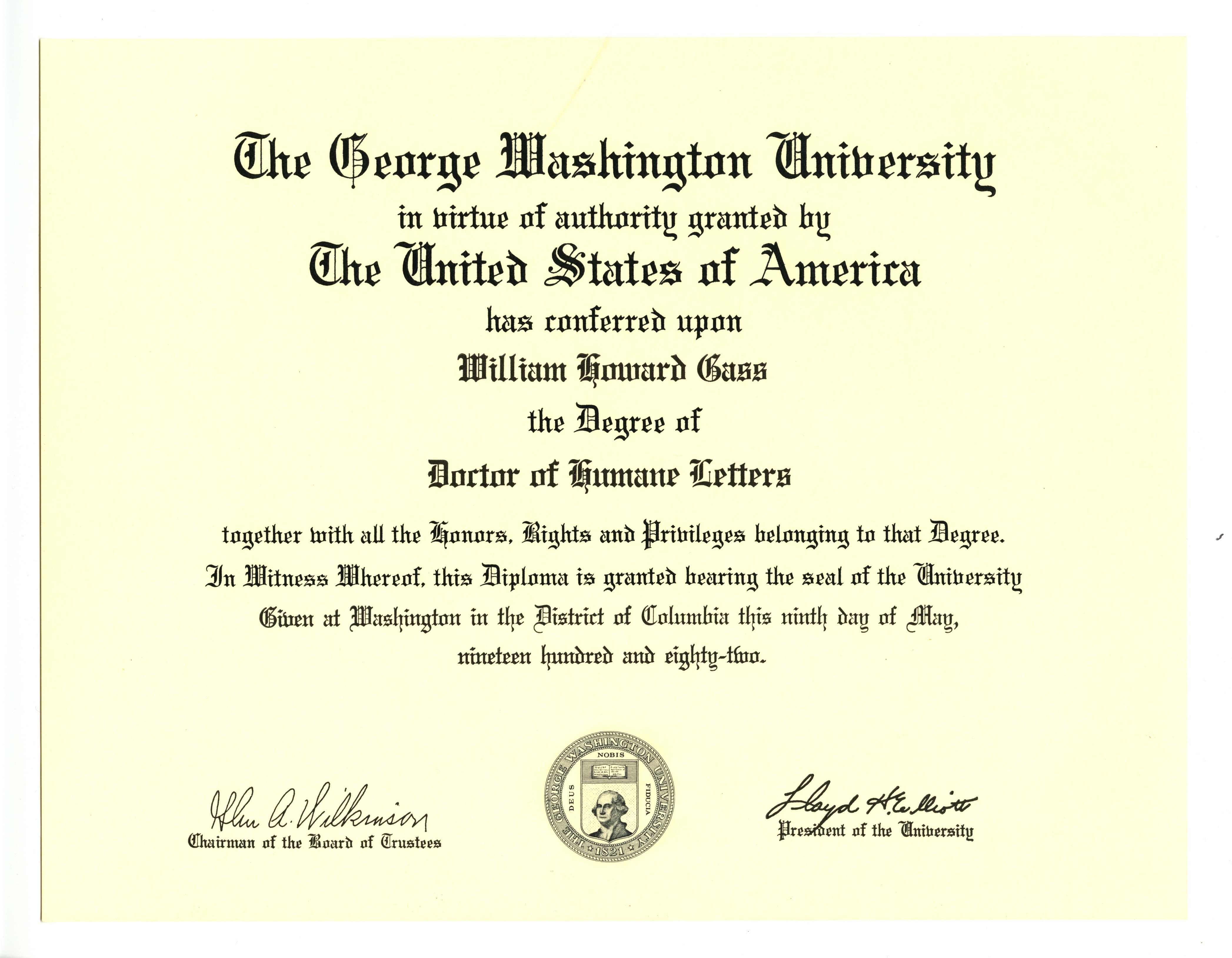 MSS051_V_george_washington_university_dr_of_humane_letters_loan.jpg. MSS051_V_george_washington_university_dr_of_humane_letters_citation_loan.jpg