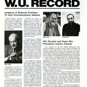 """WU Novelist and Poets Win Prestigious Literary Awards"" from <em>Washington University Record</em>, May 1, 1980"