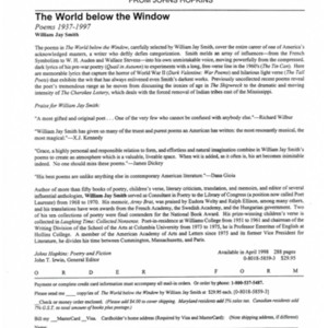 Prospectus for <em>The World Below the Window</em> by William Jay Smith