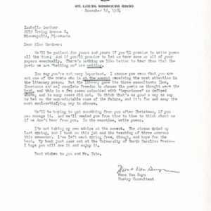 Typed letter, signed from Mona Van Duyn to Isabella Gardner, November 16, 1964