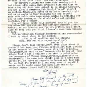 Typed letter, signed from Howard Nemerov to John Pauker, 1938