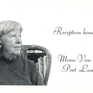 "Invitation for ""University City Public Library Invites You to a Reception for Mona Van Duyn"""