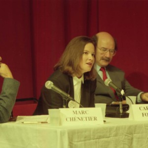 Marc Chénetier, Carolyn Forché, and Antonio Skármeta at the Writer in Politics Conference
