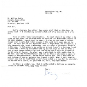 Typed letter, signed from Stanley Elkin to William Gaddis, November 17, 1994
