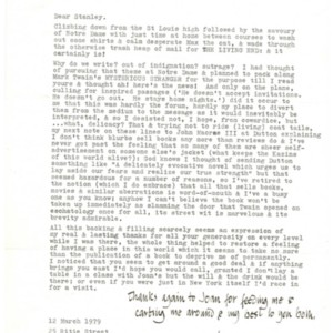 Typed letter, signed from William Gaddis to Stanley Elkin, March 12, 1979