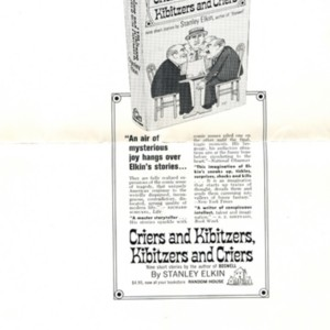 Advertisement for <em>Criers and Kibitzers, Kibitzers and Criers</em> by Stanley Elkin