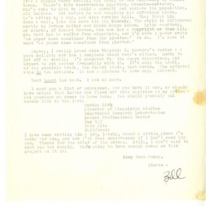 William H. Gass Letters to David Segal Regarding <em>Omensetter's Luck</em>