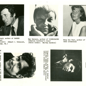 The nominees for the 1971 National Book Award for Poetry, Mark Strand, May Swenson, Mona Van Duyn, W.S. Merwin, and Gregory Corso.