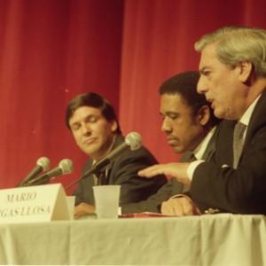 Randolph Pope, James McLeod, and Mario Vargas Llosa at the Writer in Politics Conference