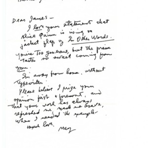 Autograph letter, signed from May Swenson to James Merrill, July 14, 1987