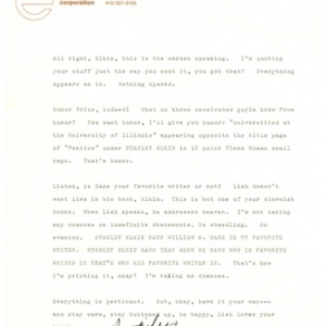 Typed letter, signed from Gordon Lish to Stanley Elkin