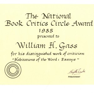 National Book Critics Circle Award for <em>Habitations of the Word</em>, 1985