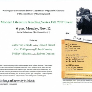 """The Modern Literature Reading Series Fall 2012 Event"""