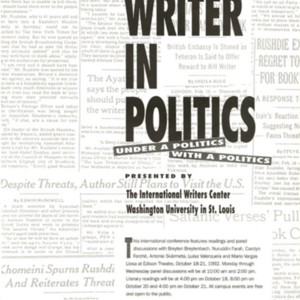 &quot;The Writer in Politics&quot; presented by the International Writers Center, October 18-21, 1992<br />
