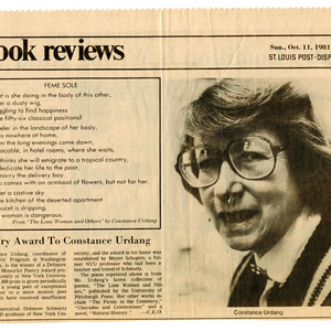 """Poetry Award to Constance Urdang"" from the <em>St. Louis Post-Dispatch</em>, October 11, 1981."