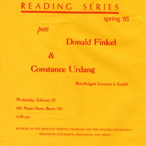 Bain-Swiggett Lectures in English featuring Donald Finkel and Constance Urdang