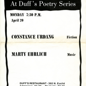 """River Styx at Duff's Poetry Series"" featuring readings by Constance Urdang and Marty Ehrlich"