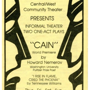 Playbill for <em>Cain</em> by Howard Nemerov, September 18-21, 1980.