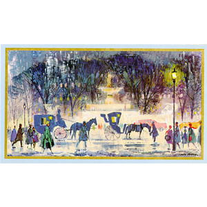Street scene with horse and buggies during Christmastime