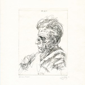 Etching of Samuel Beckett's profile by Avigdor Arikha