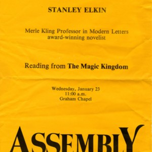 """Stanley Elkin, Merle Kling Professor in Modern Letters Award-Winning Novelist Reading from <em>The Magic Kingdom</em>"""