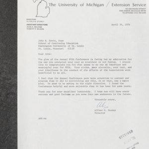 Letter from Alfred W. Storey to John B. Ervin