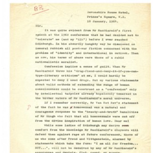 Typed letter [carbon] from Alexander Trocchi to William S. Burroughs, January 18, 1964