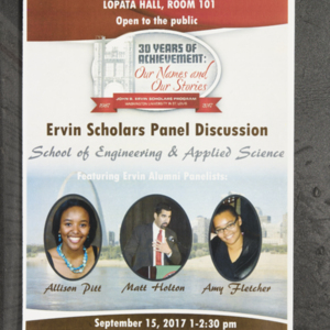 School of Engineering & Applied Science Ervin Scholars Panel Discussion 2017 poster
