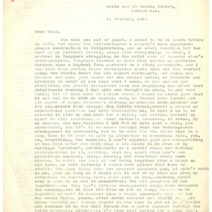 Typed letter [carbon] from Alexander Trocchi to William S. Burroughs, October 12, 1963