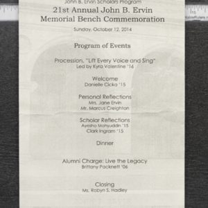 21st Annual John B. Ervin Memorial Bench Commemoration