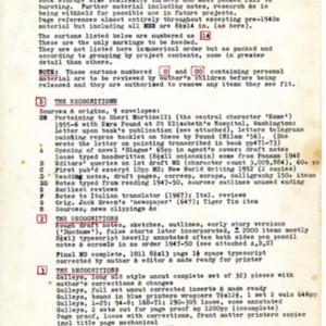 William Gaddis's inventory of his archival material