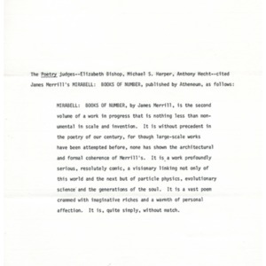 1979 National Book Award in Poetry citation for James Merrill's <em>Mirabell: Books of Number</em>