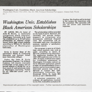 """Washington Univ. Establishes Black American Scholarships"""