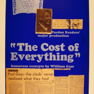 """The Cost of Everything"" Purdue Readers' advertisement with <em>Purdue Exponent</em> article affixed"