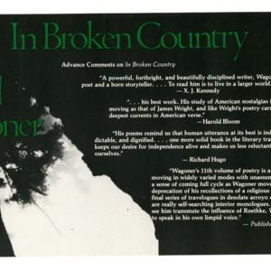 Prospectus postcard for <em>In Broken Country</em> by David Wagoner