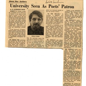 """University Seen As Poet's Patron"" by H. Katherine Smith from the <em>Buffalo Courier-Express</em>, January 7, 1968."