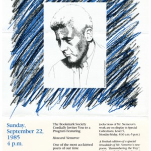 "Broadside for ""The Bookmark Society Cordially Invites You to a Program Featuring Howard Nemerov"" at Washington Univeristy, September 22, 1985"