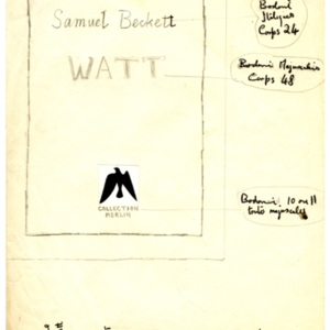 "<p class=""p1"">Mock-up cover and printing notes for <em>Watt</em></p>"