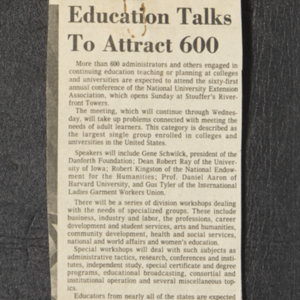 """Education Talks To Attract 600"""