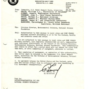 Authorization for Donald Finkel to travel for Operation Deep Freeze, October 15, 1969