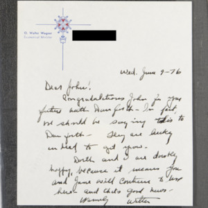 Letter from O. Walter Wagner to John Ervin