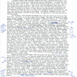 Typescript draft of an introduction for Donald Barthelme