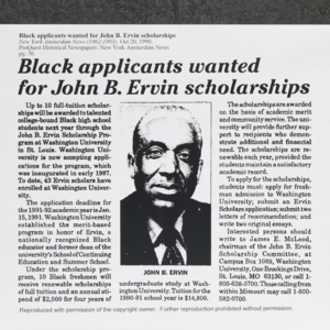 """Black applicants wanted for John B. Ervin scholarships"""