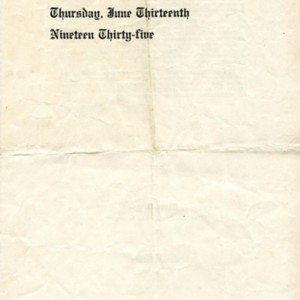 Program for William Jay Smith's Grover Cleveland High School commencement ceremony, June 13, 1935