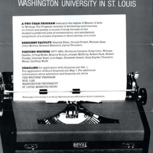 """The Writers' Program"" at Washington University in St. Louis"